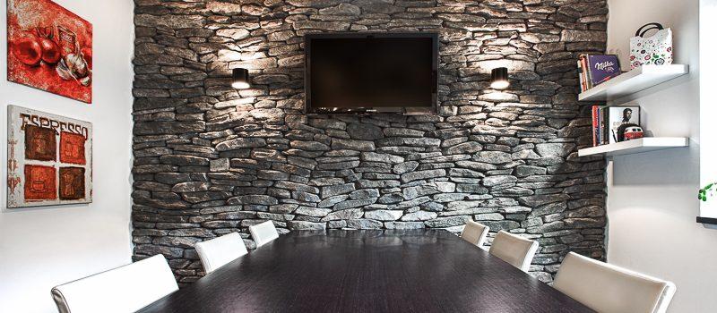 steinwand im wohnzimmer | geopietra | kunst stein | steinwand, Wohnzimmer